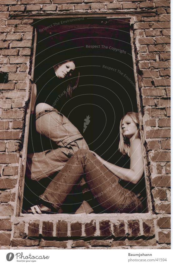 Woman Window Sit Deep Hollow Frame Sepia