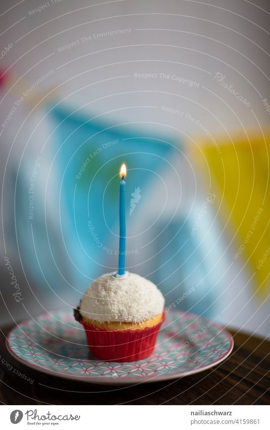 Happy birthday! Birthday Muffin shoulder stand Birthday cake birthday candles birthday party celebration Loneliness Loneliness Silence Lonely Blue Yellow Plate