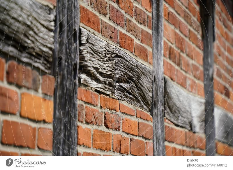 Old walls: brick wall with half-timbering Wood Joist Carrier half-timbered Half-timbered house bricks Wall (building) Facade Detail Stone masonry Structure