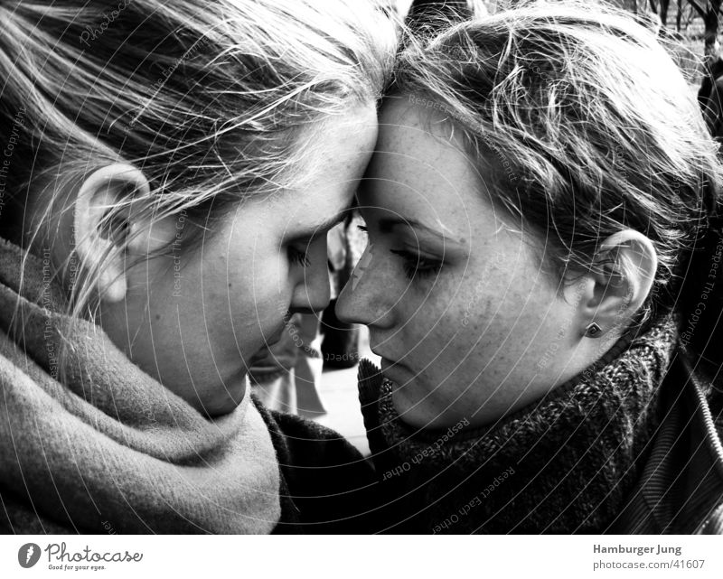 faith Trust Affection Emotions To console Friendship Woman two girls Black & white photo Nose