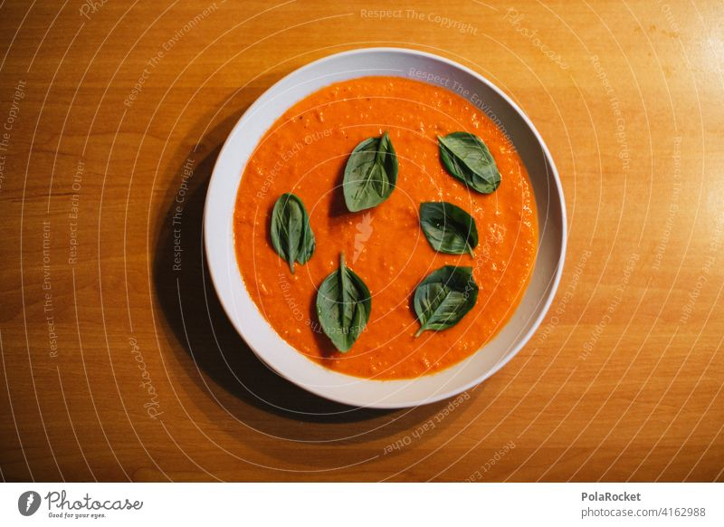 #A0# Paprika soup with basil Pepper pepper soup Basil Soup Greens Plate Edge of a plate Red Meal Dinner Delicious salubriously Healthy Eating Vegetarian diet