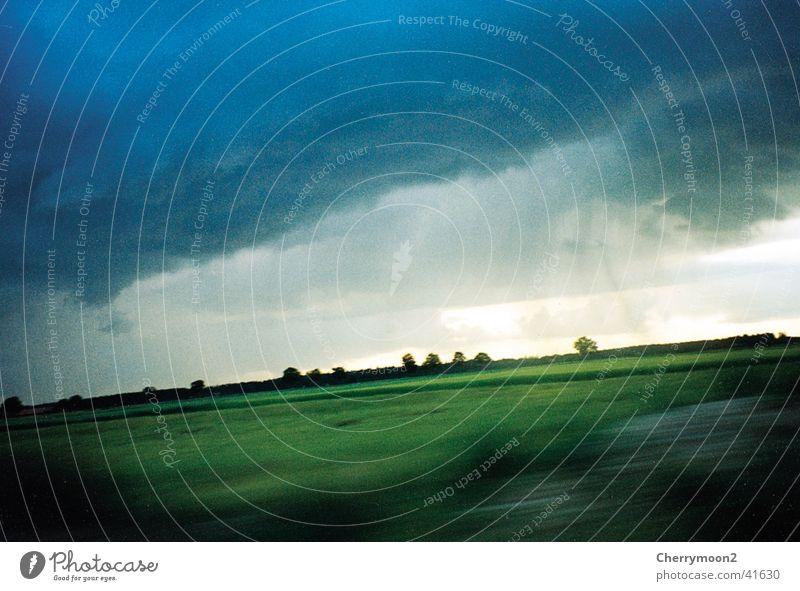 Green Blue Clouds Meadow Rain Horizon Diagonal Flat Natural phenomenon