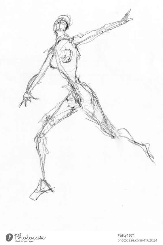 Abstract pencil drawing of nude woman running Woman sketch Naked Nude photography Dramatic Running Escape Woman's body Female nude Feminine Chest Drawing