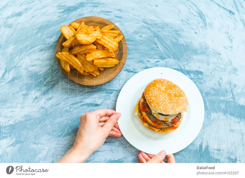 hamburgers on the grill delivery FOOD american background beef box bread bun cardboard cheeseburger container dinner fast food fresh fries lunch meal meat