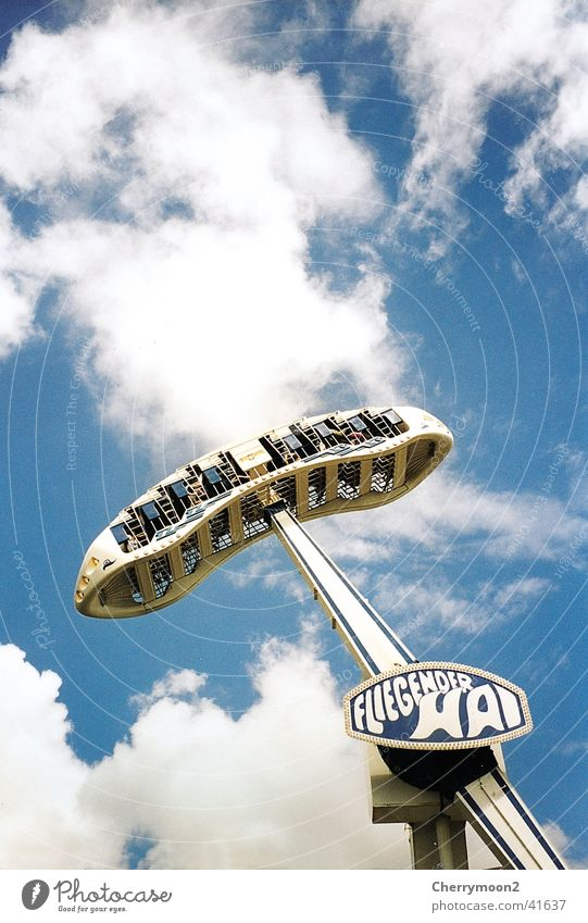 white shark Amusement Park Theme-park rides Tall Swing Clouds Events Tickle Aviation Sky overhead