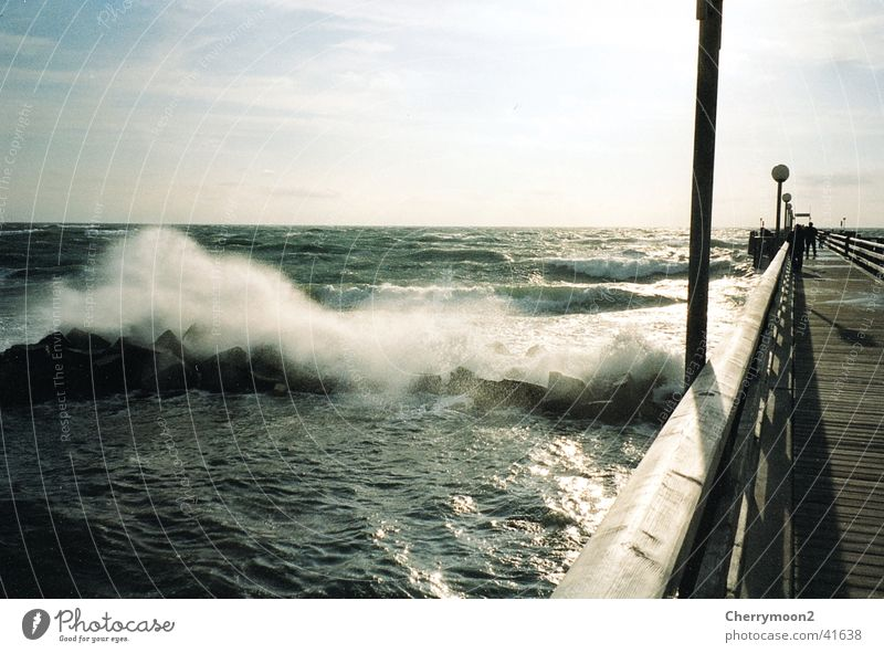 Baltic Sea bridge Foam Vacation & Travel Passion Wind high waves Nature Water Bridge Vantage point intoxicating