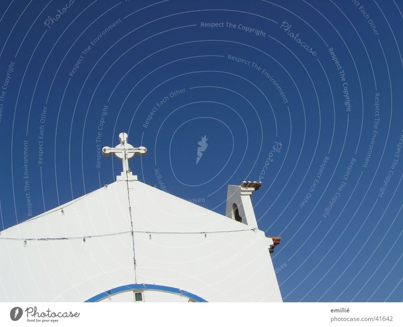 Lord in heaven Wall (barrier) White Catholicism House of worship Religion and faith Back Sky Blue Perspective Detail