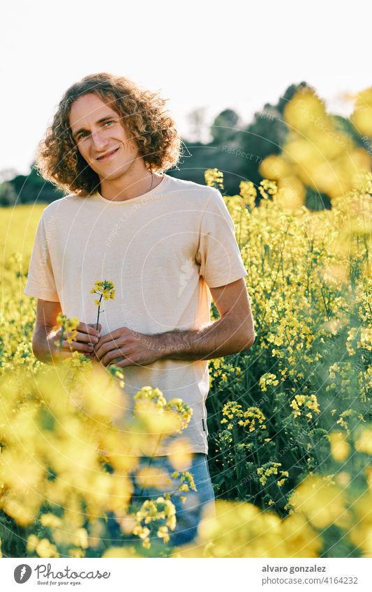 young man with curly hair with a yellow flower in a rapeseed flower field spring nature landscape che male portrait guy handsome person attractive caucasian