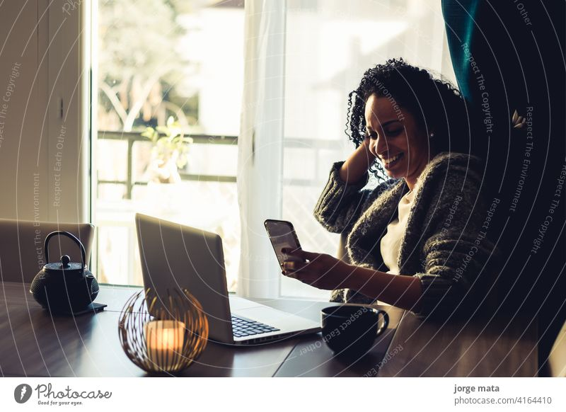 latin woman working from home accounting attractive bank beautiful business businessman businesswoman career coffee computer education employee employer