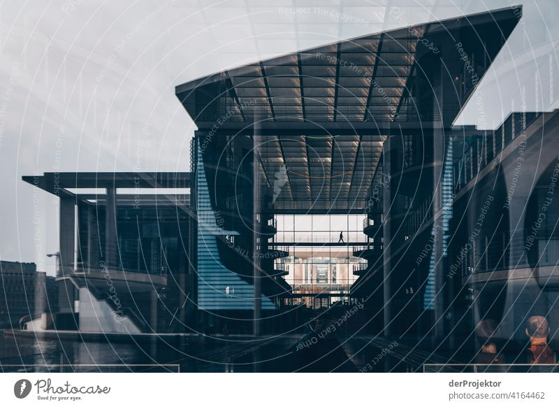Reflection of the Marie-Elisabeth-Lüdershaus in the windows of the Pau-Löbe-Haus Structures and shapes architectural photography architecture
