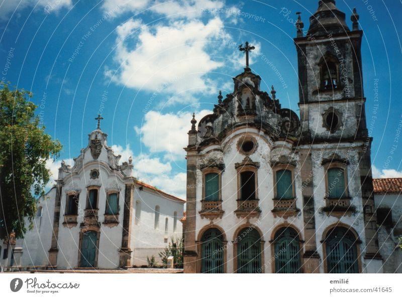 *Brazil* Village square Historic Picturesque Tree Architecture Religion and faith Portuguese architecture Old Sky Peaceful