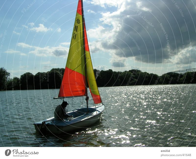 slack Sailing Sailboat Lake Clouds Calm Sports Water Sky reflection Orange Loneliness