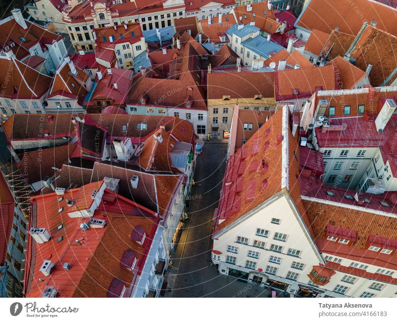 Aerial view to Tallinn Old Town estonia tallinn old town landmark aerial medieval roof famous red architecture building city baltic travel cityscape tower
