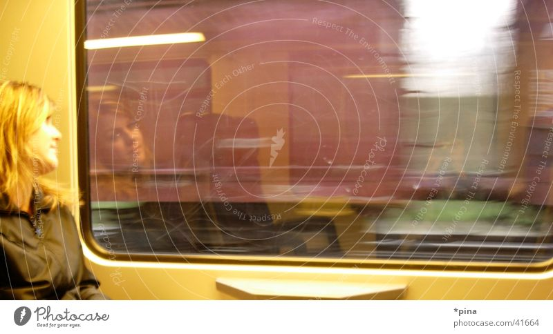 thoughts in motion Woman Thought Dream Future Reflection Railroad Window Blonde Transport Vacation & Travel Movement Window pane Looking