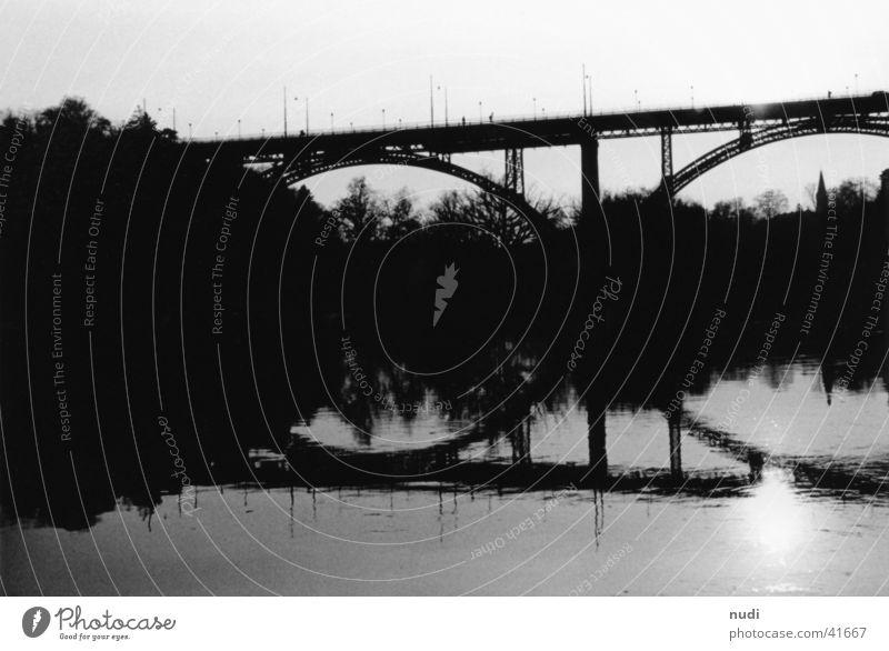 Water White Sun Black Bridge River Switzerland Floor mat Canton Bern Kirchenfeld bridge