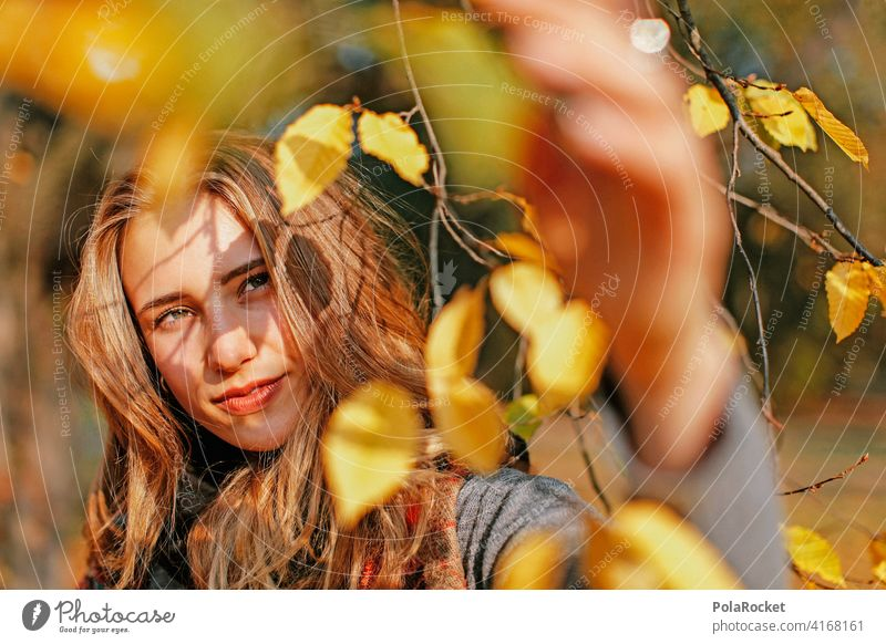 #A9# View into the autumn Model Woman Face Autumn Autumnal Autumnal colours Early fall Automn wood Autumnal landscape autumn mood Young woman Nature Experience
