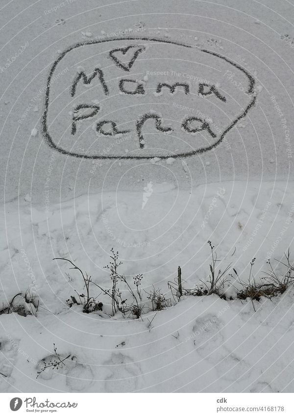 declaration of love mama dad Heart writing embassy charred on ice Winter Declaration of love Child Family frozen pond Snow Ice Snow Message Love