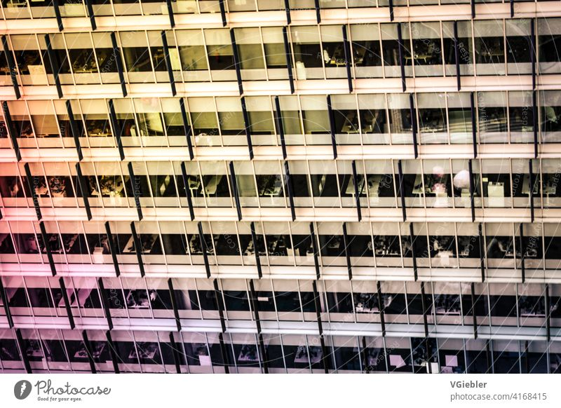 Building, office building with yellow / orange and pink reflection / color gradient Office Office building House (Residential Structure) Town Repeating Pink