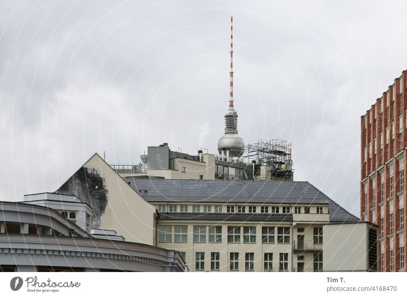 the backside of SOHO Hotel with TV tower Television tower Berlin TV Tower Architecture Landmark Downtown Berlin Capital city Deserted City Exterior shot