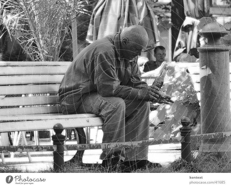 Human being Man Moody Drinking Social Park bench
