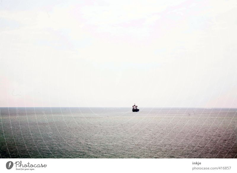 Sky Water Ocean Loneliness Far-off places Dark Small Watercraft Horizon Elements Longing Navigation Mediterranean sea Calm Fishery Fishing boat