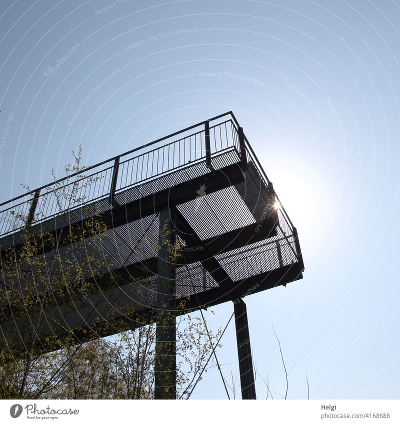 sunny view - metal viewing platform in backlight, frog perspective vantage point Vantage point Platform Metal Worm's-eye view Back-light Sunlight sunshine Light