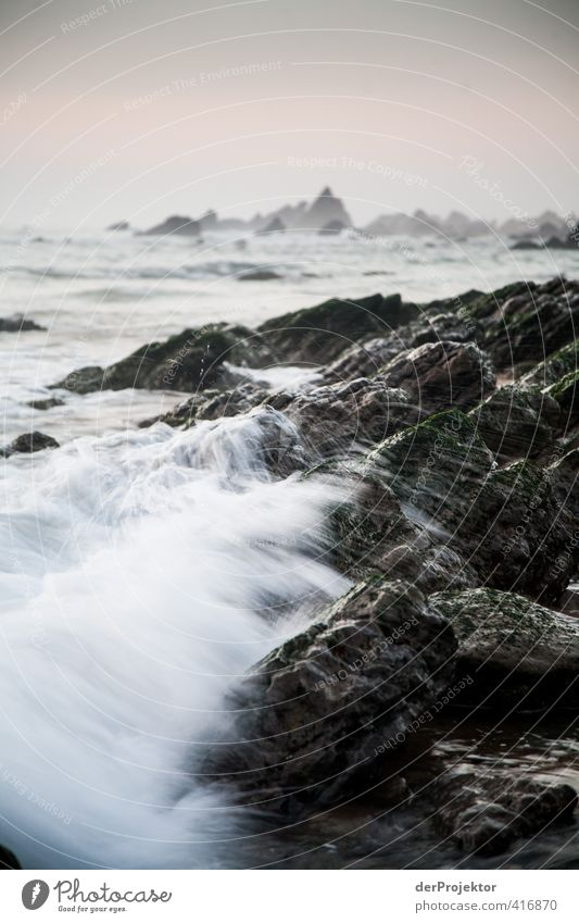Spray on the beach of Sao Pedro de Muel Environment Nature Landscape Plant Elements Air Water Drops of water Summer Waves Coast Beach Bay Ocean Emotions Moody