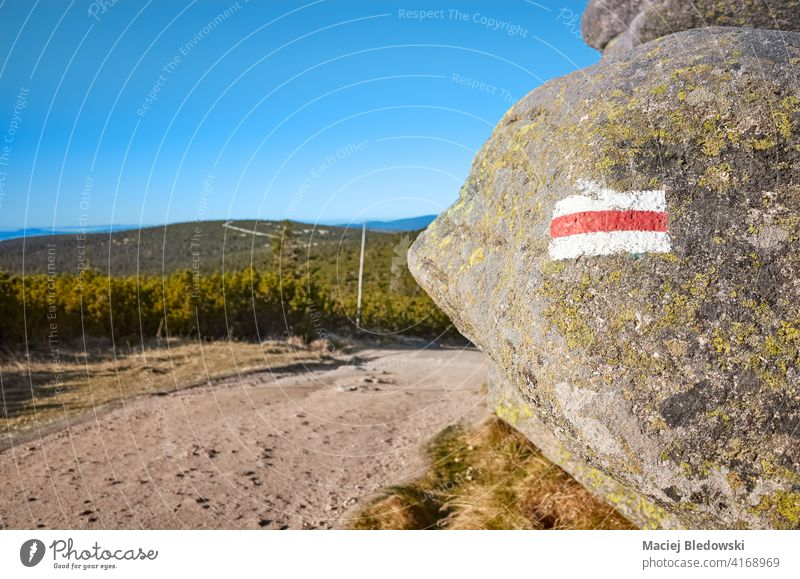 Red hiking mountain trail marker painted on a rock, selective focus, Karkonosze National Park, Poland. marking nature forest adventure path mountains landscape