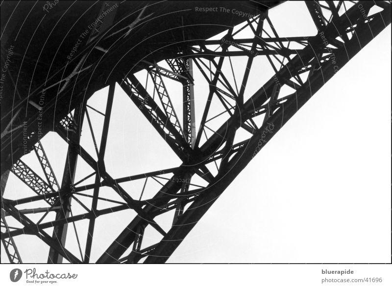 The bridge... Diagonal Carrier Steel Bridge Black & white photo Detail Connection