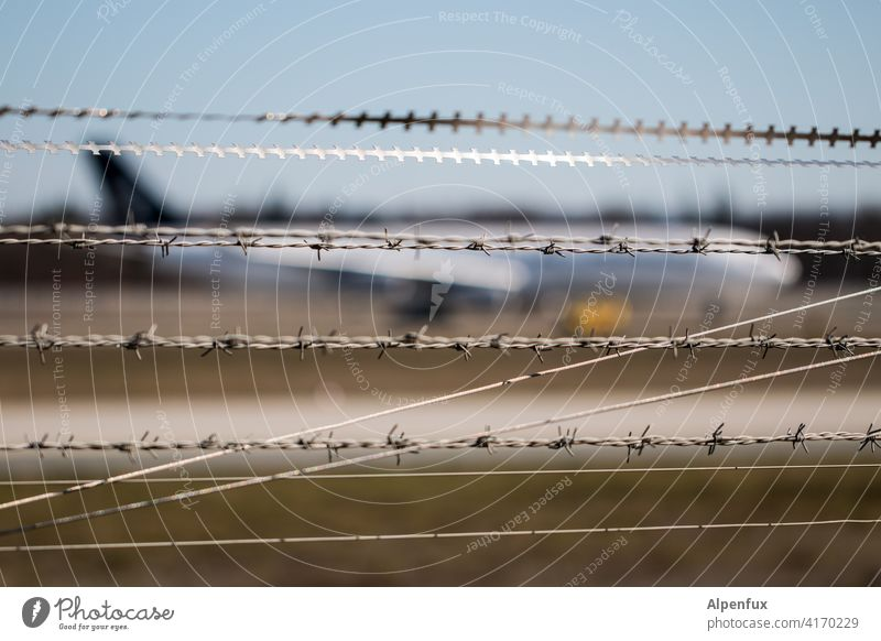 The diversity of the barbed wire society Barbed wire Barbed wire fence Airplane Safety Exterior shot Metal Threat Thorny Fence Barrier Protection Border