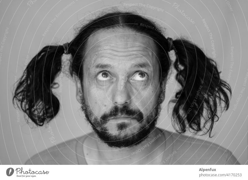 country innocent Man Face portrait Human being 1 Person Black & white photo Adults Masculine Facial hair plaits Hair and hairstyles Hairdresser lock down