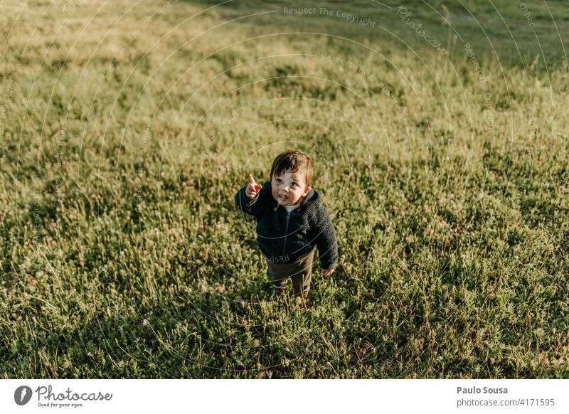Cute child point at the sky Child childhood 1 - 3 years Caucasian Boy (child) Point Sky Human being Toddler Infancy Colour photo Joy Playing Day Happiness