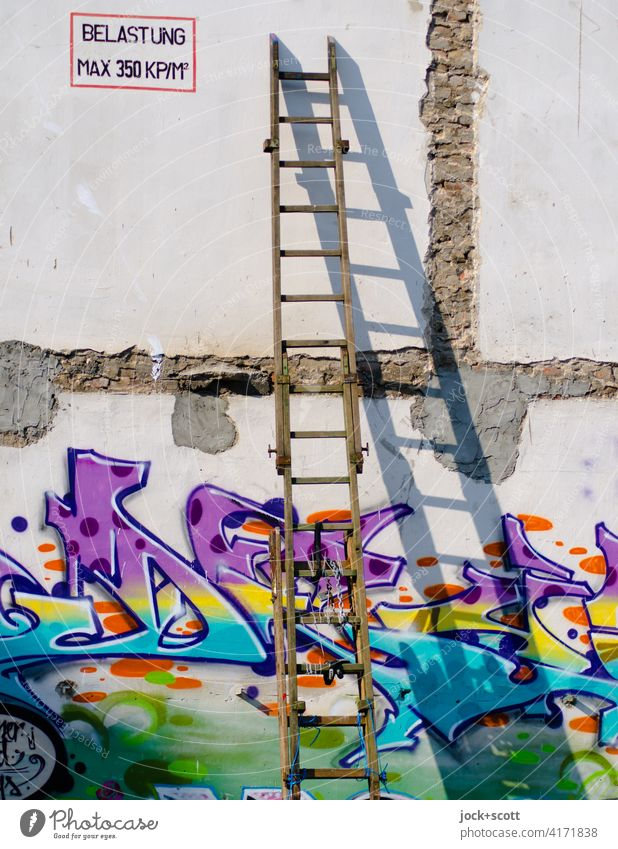 *3000* LOAD MAX 350 KP/M² Wooden ladder Wall (building) Ladder Shadow play Sunlight Graffiti Street art Characters Youth culture Creativity German lost places