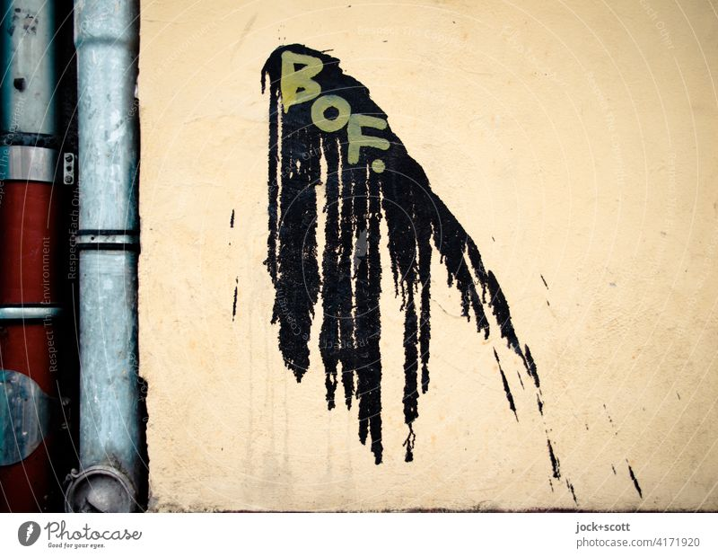 Flatsch and BOF. Creativity Daub Patch Patch of colour Color gradient Abstract Subculture Silhouette Structures and shapes Wall (building) Street art Graffiti