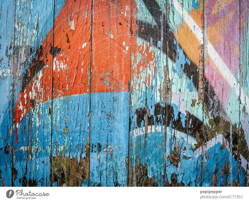 painted, old wooden wall, graffiti Graffiti Graffiti wall Wall (building) Wall (barrier) Mural painting Art Street art Facade Characters Youth culture Daub