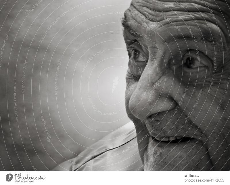 Old Dad, the old rogue Senior citizen grandpa Man Funny Rascal Laughter grin pleased Joy Joie de vivre (Vitality) amused portrait B/W Male senior Grandfather