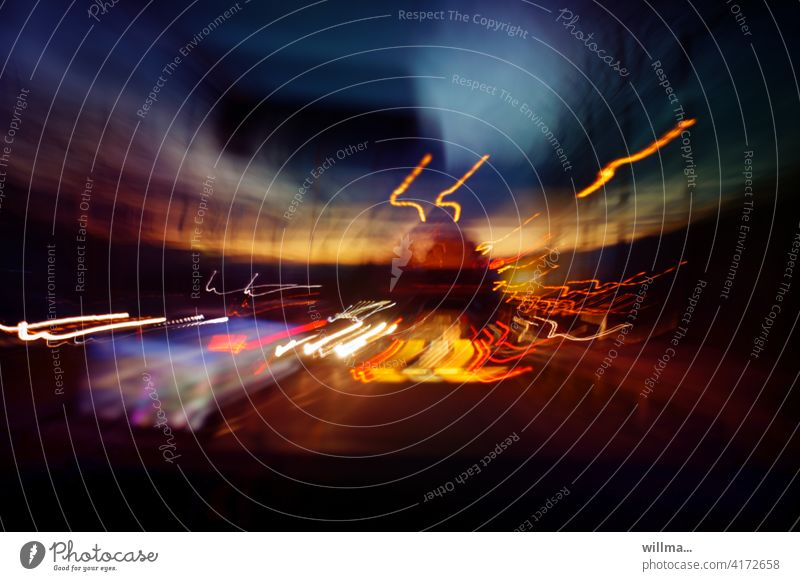 night ride travel vacation Highway Speed rush Traffic infrastructure Motoring Street tempo Movement Long exposure motion blur variegated clearer Transport Night