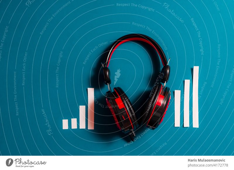 audio headphones with audio spectrum concept, podcast, music audience background black broadcast business classic communication design device digital dj
