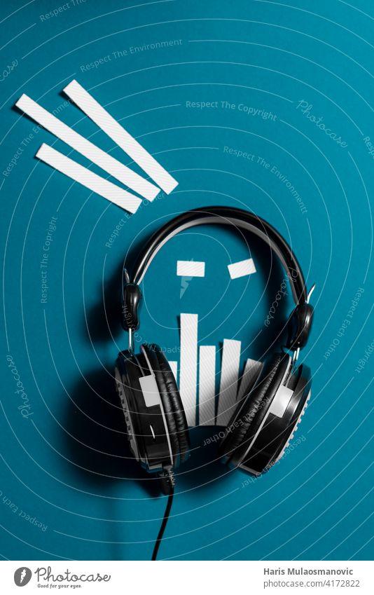 black and white modern headphones futuristic creative audio concept audience audio spectrum background broadcast business classic communication design device