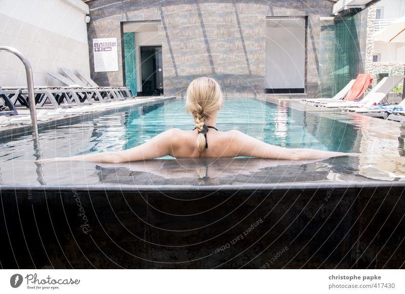 cool blonde Luxury Wellness Well-being Contentment Relaxation Calm Spa Swimming & Bathing Vacation & Travel Summer Swimming pool Feminine Young woman