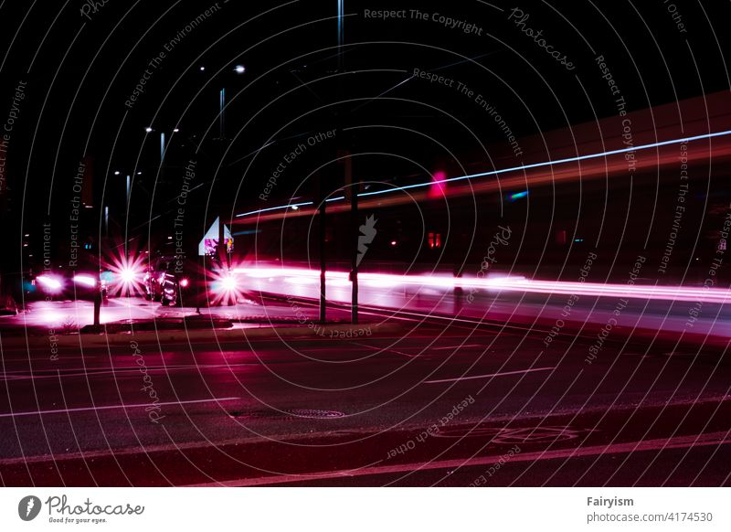 long exposure of the train at night Dark artistic Art photography color Photos of everyday life Glittering Contrast Abstract enlightenment lamps Winter mood