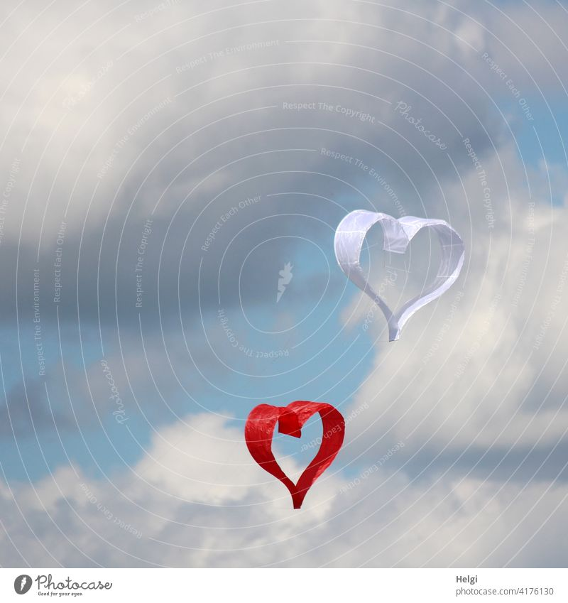 hearty - two paper dragons in the shape of hearts float in front of cloudy sky kites paper kite Heart Love Infatuation Happy Emotions Wedding Betrothal Together