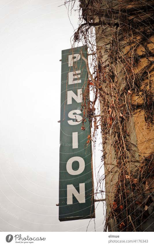 On a large greenish sign at an overgrown house wall is to be read in vertically arranged white capital letters PENSION / Overnight stay Boarding house