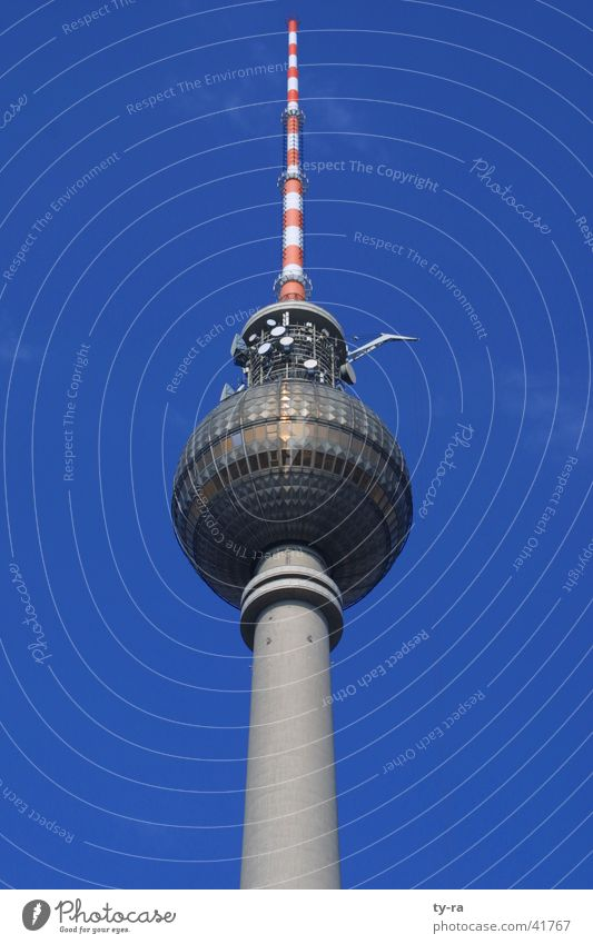 Berlin-Alexanderplatz Antenna Radio technology Landmark Concrete Café Architecture Blue Sky GDR Sphere Vantage point