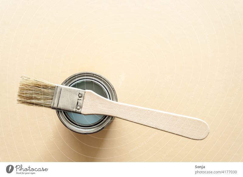 Top view of a paint can and a brush. Isolated beige background. Spray can Paintbrush Painting (action, work) Creativity Leisure and hobbies Painter Colour