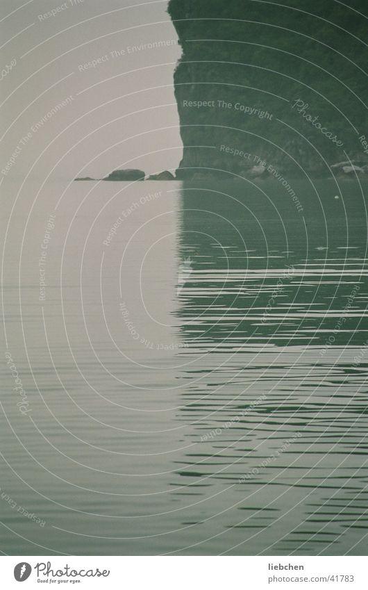 half-half Ocean Reflection Halong bay Vietnam Water Mountain