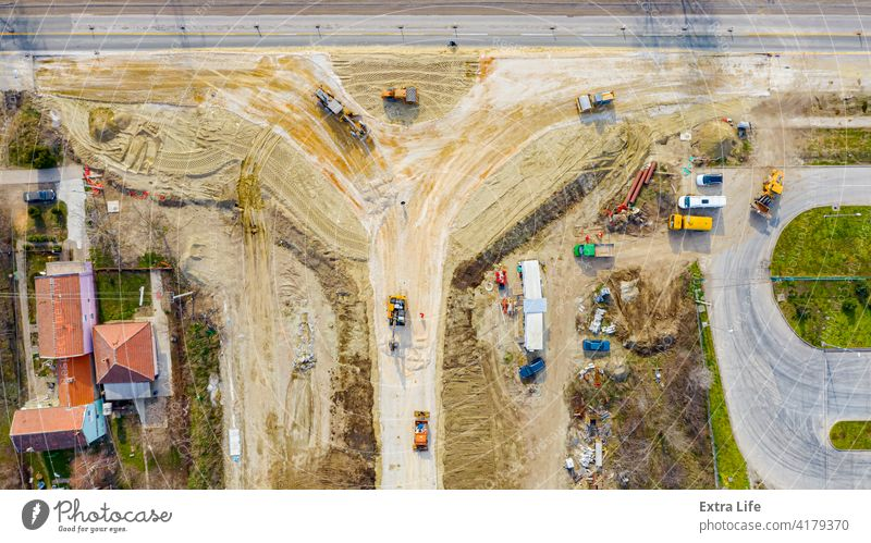 Aerial view on new road, roundabout under construction Above Architecture Asphalt Base Building Site Circular Civil Engineering Construction Crossroad Direction