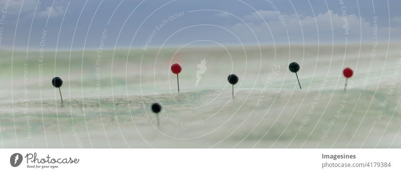 Find your way on a route map. Map navigation with red and black pins. Adventure backgrounds business cartography Town Clouds in the sky communication Direction