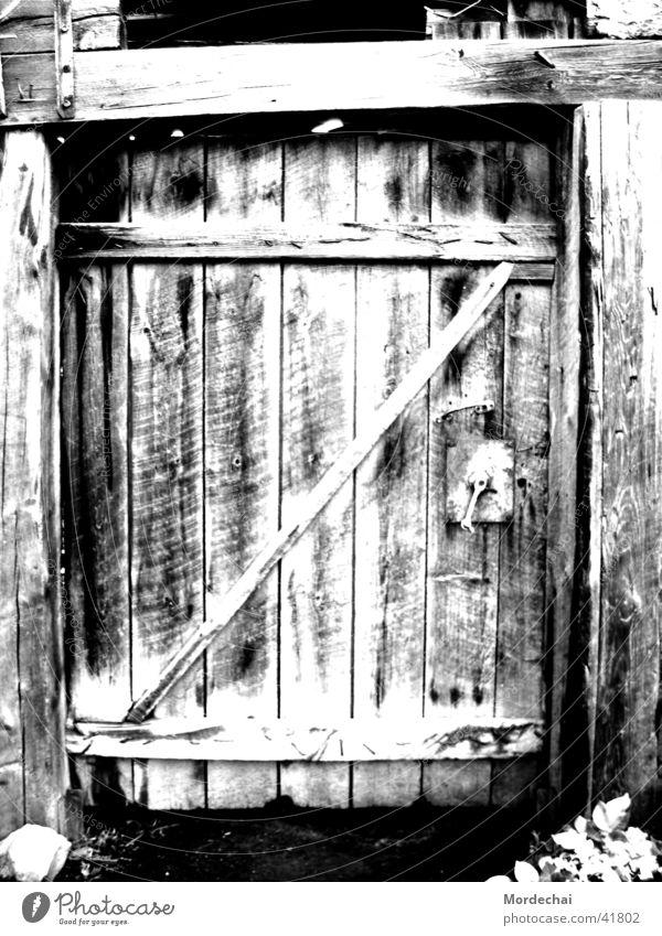 door Nostalgia Eerie Past Black & white photo Door Old Barn Derelict