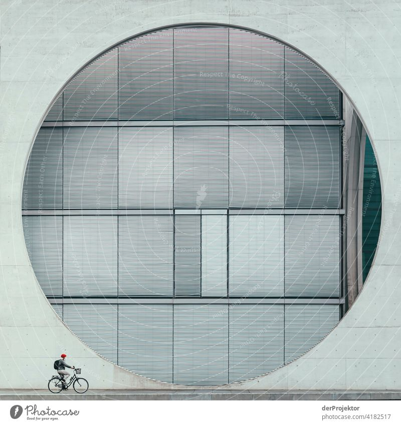 Bicycle with concrete window of the Marie-Elisabeth-Lüders-Haus - the Instagram classic from the government district Structures and shapes